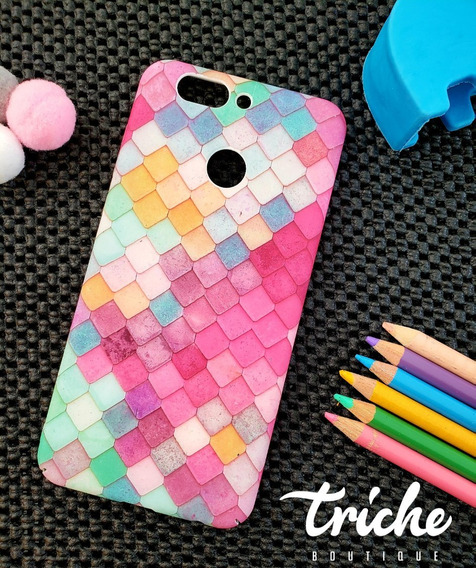 Funda Case Mosaico Colores Sirena Dama Huawei P10 Selfie