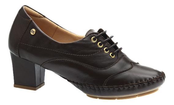 Sapato Feminino Em Couro Café 790 Doctor Shoes