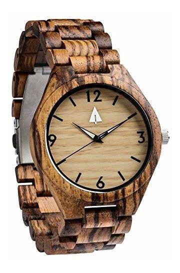 Reloj De Madera De Zebrawood Para Hombre De Treehut Con Corr