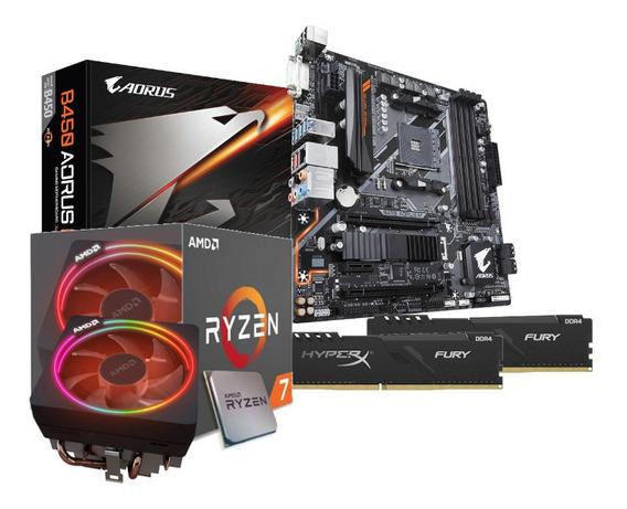 Kit Processador Amd Ryzen 7 2700x B450 Aorus M 2x8gb Hx Fury