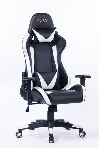 Cadeira Gamer Fury 7000 - Braço Ajustável, Recli 180º Branca