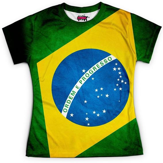 Camiseta Baby Look Feminina Brasil Bandeira Copa Md03