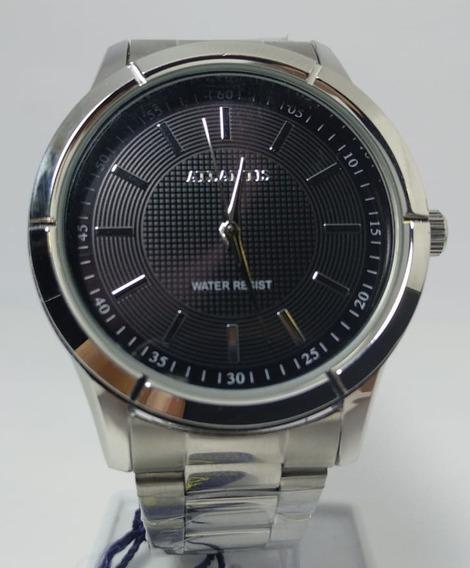 Relógio Atlantis Prata Fundo Preto - G3394