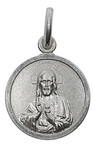 Imagen 1 de 4 de Medalla Dije Sagrado Corazon De Jesus Plata 925 Con Relieve