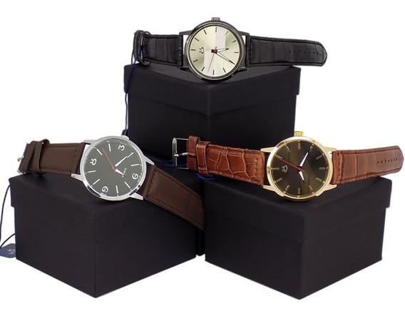 Kit 3 Relógios 100% Original Dourado Prata Couro Social