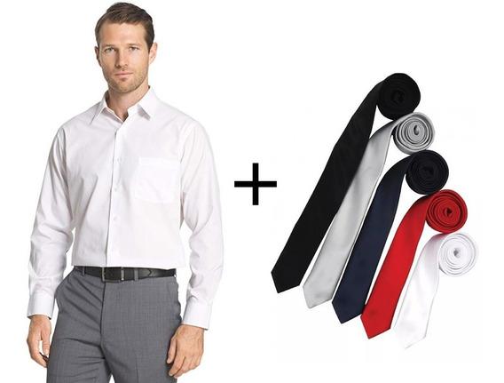 Camisa Lisa De Hombre Vestir Elegante + Corbatin De Regalo