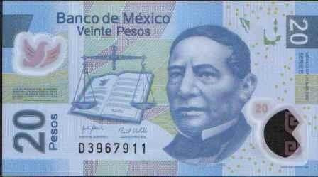 Imagen 1 de 2 de Mexico, 20 Pesos 14 May 2007 Serie E P122d Plastico