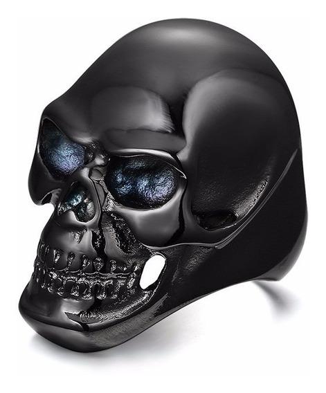Anel Masculino Caveira Titânio Motoqueiro Harley Rock Gotico