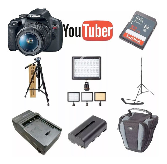 Kit Youtuber Canon Eos T7 32gb + Tripe + Led 160 Bat E Case