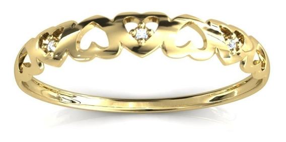 Anel Aparador Aliança Corações Zircônias Ouro 18k Dourado
