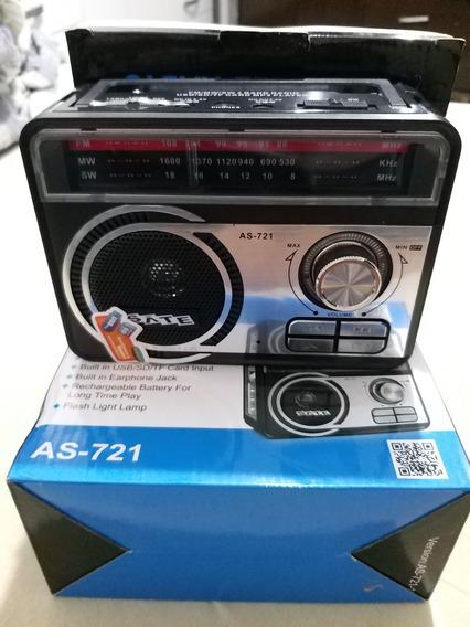 Rádio Portátil,radio Satellite As-721 Com Lanterna Usb Sd Fm