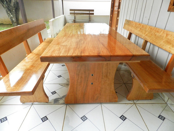 Mesa Churrasco Rústica Madeira 2mts + 2 Bancos C/ Encosto