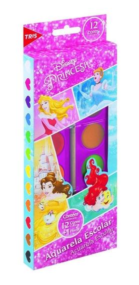 Tinta Aquarela Pastilha Princesas Disney 12 Cores Escolar