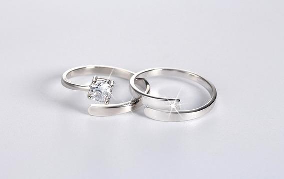 Conjunto De Prata Esterlina 925 Anéis Com Zircão Cúbico Tsr