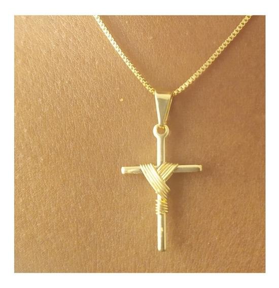Pingente Cruz Crucifixo Folheado A Ouro Pronta Entrega
