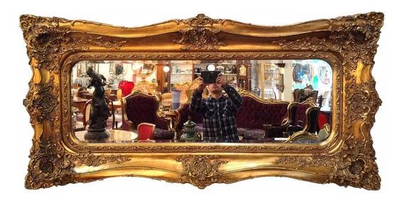 Espelho Dourado Bisotado Entalhes Manuais