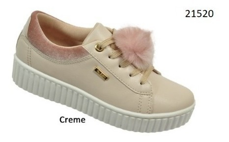 Tênis Via Euro Feminino Creme Ref.21520