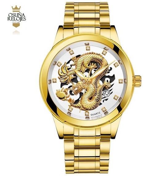 Relogio Social Esqueleto Dourado Misto Dragão Aço Inoxidavel Ouro