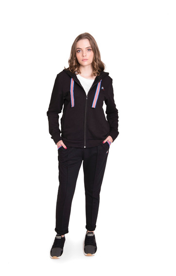 Campera Ess Basic Fz Hoody Negro Mujer Le Coq Sportif