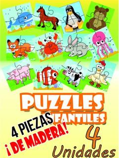 Kit Puzzle Rompecabezas Infantil Mdf 4 Piezas Animales