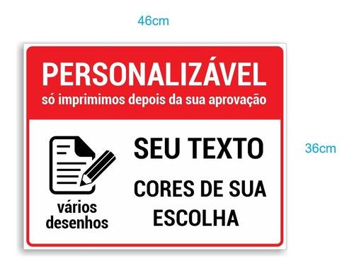 Placa De Sinalização Personalizável - Editável - 46x36cm