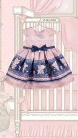 Vestido Petit Cherie Baby Em Cetim Saia Com Estampa De Ursos