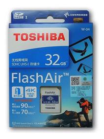 Cartão De Memória Sd Wifi Flashair Toshiba 32gb W04 + Lenço