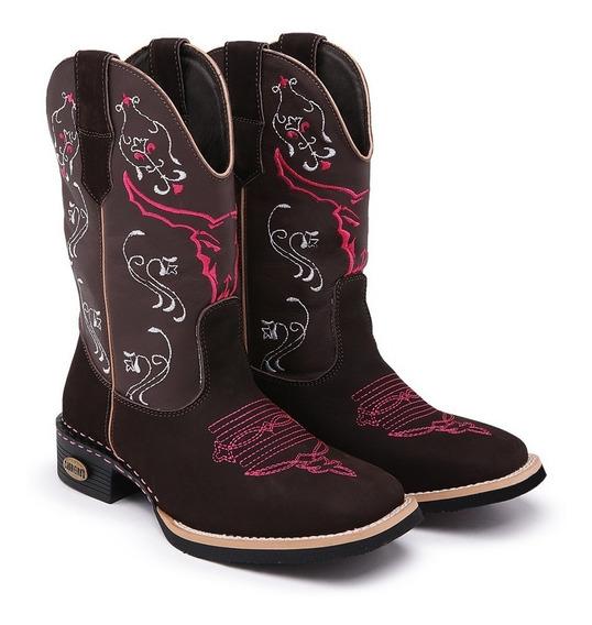 Bota Texana Feminina Cara De Boi Cano Alto