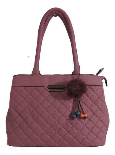 Imagen 1 de 7 de Hermosa Bolsa De Mano Para Mujer En Color Rosa En Tacto Piel