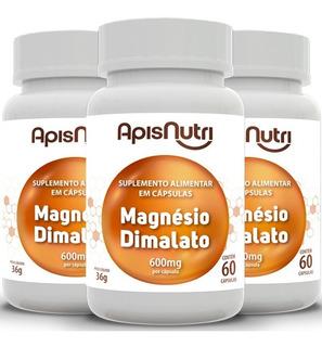 Kit Com 3 Magnésio Dimalato 600mg Apisnutri - 60 Cáps