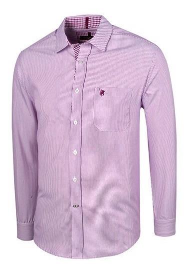 Camisa Vestir Hombre Polo Club Ca02863 Manga Larga Lila T3