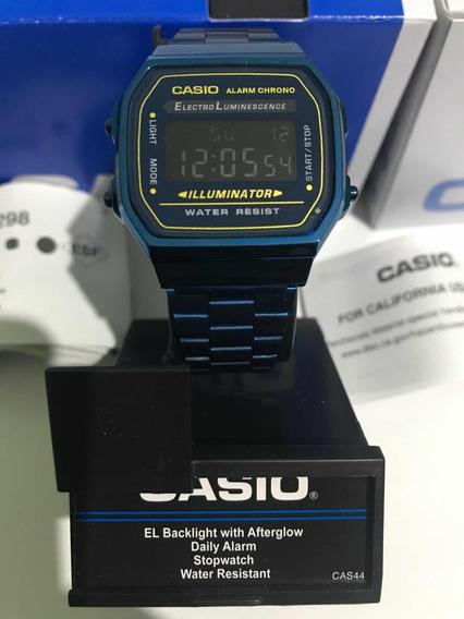 Reloj Nuevo Casio A168 Azul Vintage Retro Original