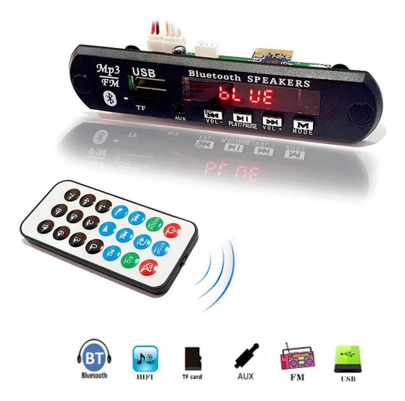 Kit 6 Placa Decodificador Usb Caixa Ativa Mp3 Bluetooth Fm