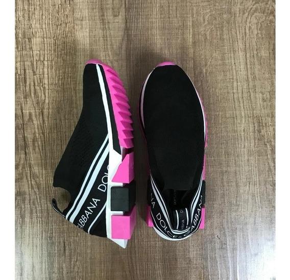 Tenis Dolce & Gabbana Preto Rosa Promoção