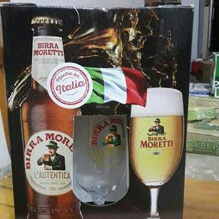 Cerveza Moretti Four Pack + Copa Importada Italy,ret X Ferro