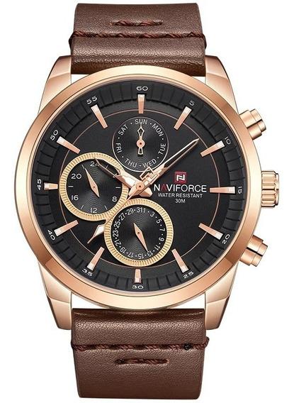 Relógio Naviforce Nf9148 Masculino Cronógrafo Pulseira Couro
