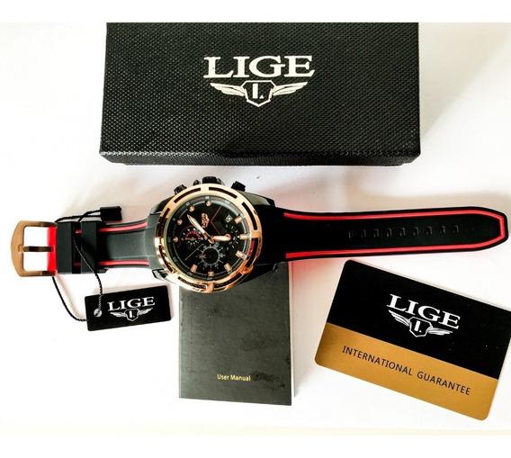 Relógio Masculino Lige 9957 Esportivo Original Na Caixa