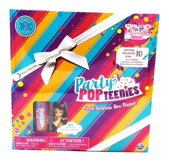 Nova Boneca Party Pop Teenies Party Surprise Box Playset