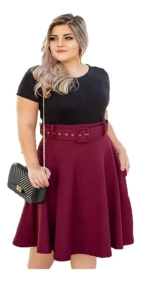 Saia Rodada Com Bolso E Cinto Sem Furo Moda Roupas Femininas