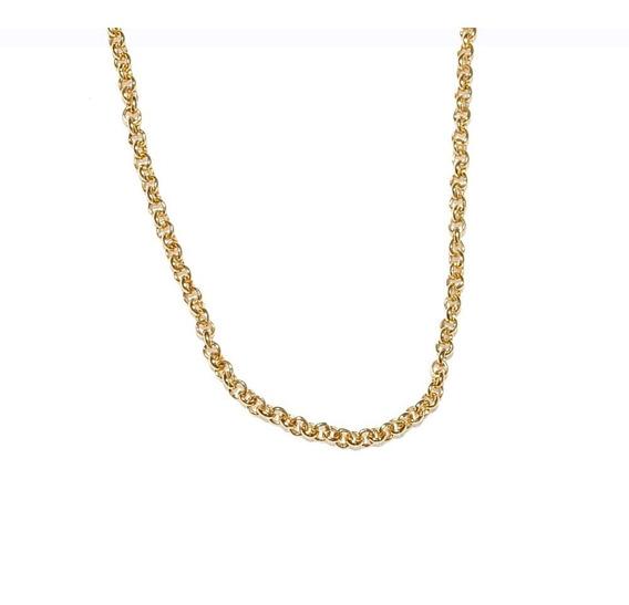 Cordão Elos Pequeno 45 Cm Folheado A Ouro 18k