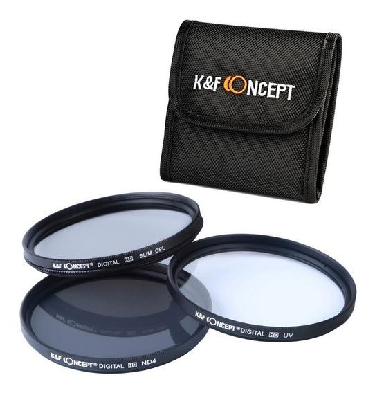 Kit De Filtros 55mm Hd. Polarizado, Nd4 E Uv Canon E Nikon