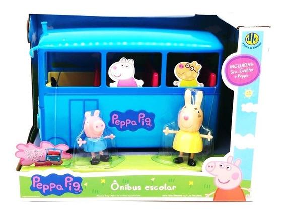Peppa Pig Ônibus Escolar Com Som E Peppa E Coelha Dtc