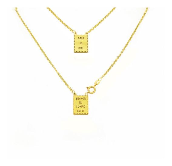 Escapulário Ouro 18k Evangélico Feminino 45cm Ee0330