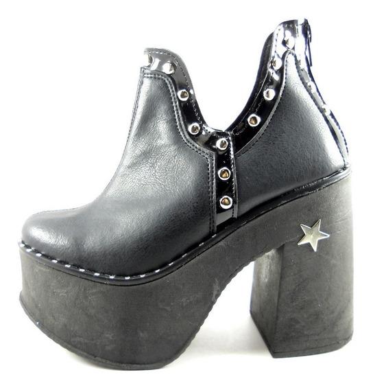 Zapato Plataforma Alto Tachas Negro Mujer Dama Moda