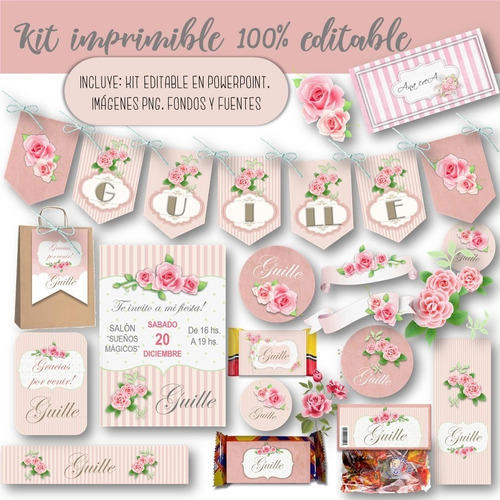 Kit Imprimible Shabby Chic Rosa Vintage 100% Editable Mod.2