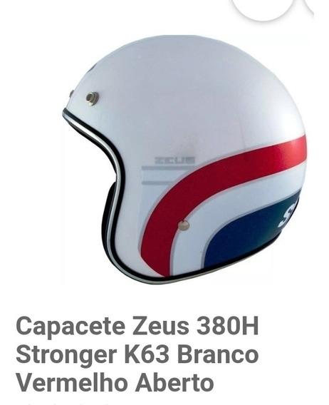 Capacete Zeus 380h Stronger (cor: Branco) Com Viseira Fixa