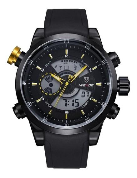 Relógio Masculino Weide Anadigi Wh-3401 - Preto E Amarelo