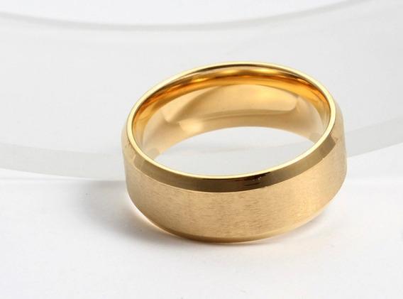 Anel Titânio Dourado Unissex Cor Ouro Aço