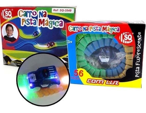 Carrinho Com Pista Magica Flexivel Brilha Escuro Autorama 56