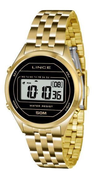 Relogio Feminino Digital Dourado Lince Sdph021l Bxkx